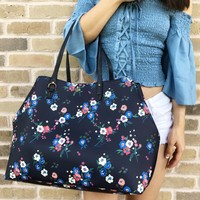 Tory Burch Kerrington Large Square Tote Pansy Bouquet Navy Blue Floral