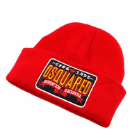 DSQUARED2 BURNIN CANADA Beanie Knitted Cotton Elastic Mens & Women's Casual Warm Winter Red Cuffed Skully Hat