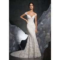 Blu by Morilee 5616 Kinley Off the Shoulder Lace Fit and Flare Wedding Dress