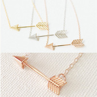 New Arrival Kolye Fashion Jewelry One Direction Silver Rose Gold Plated Arrow Pendant Collar Necklaces For Women Bff Necklace