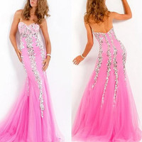 2013 NEW Sexy Beaded Pink Wedding Dress Bridesmaid Evening Prom Formal Dress Gown