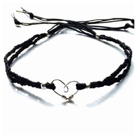 Black Braided Cord with Silver Heart Tie On Ankle Bracelet