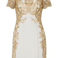 Marchesa Notte - Embroidered tulle and silk-crepe mini dress