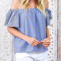 Off The Shoulder Vertical Striped Bow Top