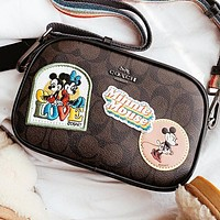 COACH & Mickey Mouse New fashion embroidery mouse pattern leather women shoulder bag crossbody bag