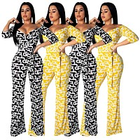 fhotwinter19 Ladies Women's Sexy Geometric Pattern Printed Sleeve Jumpsuit