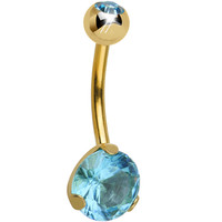 CZ Aqua Gold Titanium IP Belly Ring | Body Candy Body Jewelry