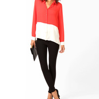 Colorblocked High-Low Button Up
