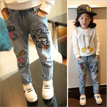 2017 New Spring Baby Harem Pants Girls Cartoon Character Printing Jeans Soft Kids Boys Girls Trousers