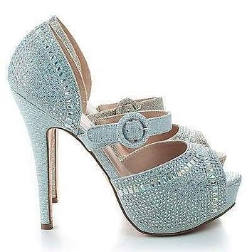 Vice158 By Blossom, Shimmer Peep Toe Rhinestone Studded D'orsay Stiletto Pumps