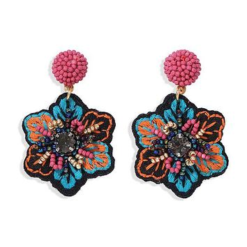Blue Embroidered & Pearl Tropical Floral Earrings