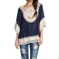Women Blusas Summer Tassel Loose Cape Lace Crochet Kimono Cover Up Plus Size Blouses Hollow Out Knit Sexy Splice Smock Top