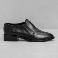 & Other Stories | Studded Leather Flats | Black