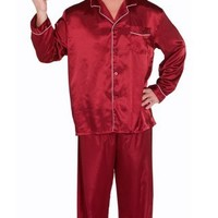 Del Rossa Men's Classic Satin Pajama Set - Long Pjs, Large Burgundy (A0752BRGLG)