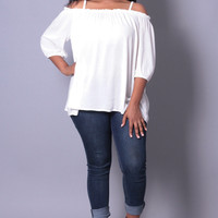 Plus Size Open Shoulder Knit Top - White