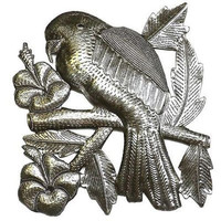 Parrot on a Branch 12-inch Square Metal Wall Art