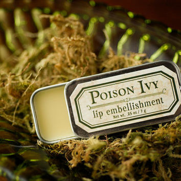 Poison Ivy - lip embellishment in tin - natural lip balm with beeswax, cocoa butter, forest-inspired natural flavor
