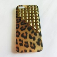 Handmade Studded Leopard Print Hard Case for Apple iphone 4 4S with FREE leopard Home Button Sticker