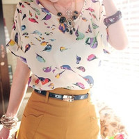 Colorful Birds Chiffon Batwing Loose Blouse = 1932874116