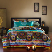 Bright Colored Oriental Bohemian Style Exotic Bedding Set Queen Size Cotton Bed Sheets Pillowcase Duvet Cover Without Filling
