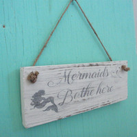 Bathroom sign - Mermaid bathroom sign - Beach bathroom sign - Rustic bathroom sign - Coastal home decor - Beach decor - Housewarming gift