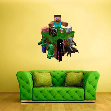 Full Color Wall Decal Vinyl Sticker Decor Art Bedroom Design Mural Like Paintings Minecraft Objects Creeper Steve World Video Game (col524)