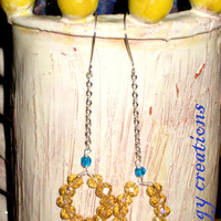 Yellow blue glass crystal silver chain drop dangle earrings jewelry gift