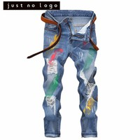 Cheap Mens Ripped Skinny Blue Denim Jeans Special Colorful Painted Destroyed Straight Slim Fit Distressed Denim Pants for Men
