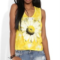Tie Dye Tank Top with Daisy Screen and Stud Accents