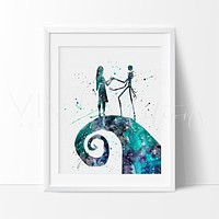 Jack Skellington and Sally Watercolor Art Print