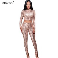 Rompers Womens Jumpsuit 2017 Autumn Style Long Sleeve Gold Sequin Playsuit Bodysuit Macacao Sexy Bodycon Club Jumpsuits Rompers