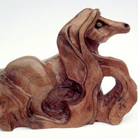 Horse Wood Carving from Elm Burr. Horse sculpture, Wood ornament, Horse Statue, Horse Carving, Pony Carving, Wood horse sculpture, horse art
