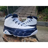 Air Jordan 9 Retro AJ9 White/Navy Basketball Shoes 40-47