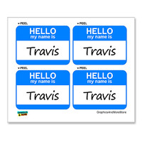 Travis Hello My Name Is - Sheet of 4 Stickers