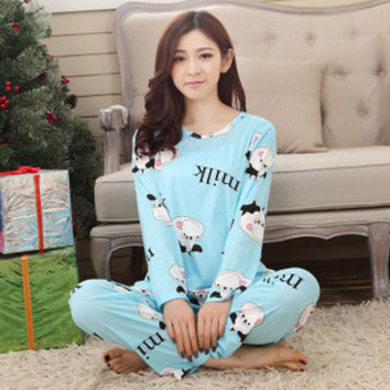 Womens Pajama Sets O-Neck Long Sleeve Women Sleepwear Pajamas girls nightgown for woman free shipping