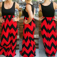 Cruise bound chevron maxi dress in Black/red