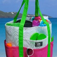 Mesh Family Beach Tote - White & Hot Pink w black Carabiner Hook by Saltwater Canvas