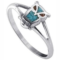 Gem Avenue 925 Sterling Silver Turquoise and Coral Southwestern Style Owl Ring