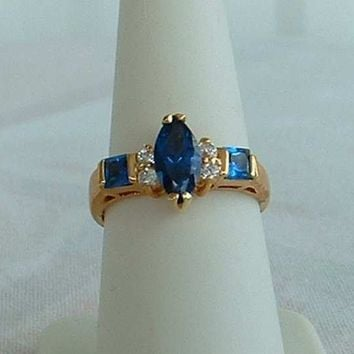 Lind Blue Sapphire Rhinestones Ring Size 7.75 Navette Marquise 14K HGE Lindenwold Jewelry