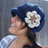 Crochet Newsboy Hat  Navy  Made to Order by SoLaynaInspirations