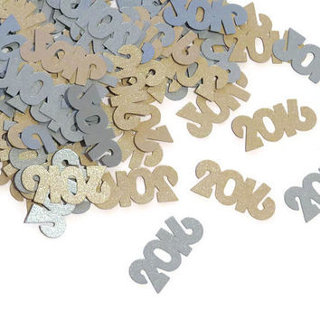 2016 confetti, New Years Eve decorations, party supplies, silver, gold, year, number confetti, shimmer, 100 pieces