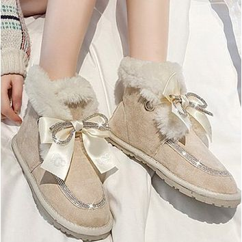 New fashion bowknot and velvet padded cotton short boots