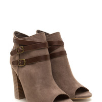 Vertical Integration Faux Suede Booties