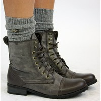 Womens Flat Lace Army Biker Ankle Brown Ladies Military Boots Size 3 4 5 6 7 8