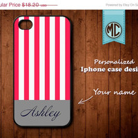 20% OFF SALE Personalized iPhone Case - Plastic or Silicone Rubber Monogram iPhone 4 4S Case Cover - K090