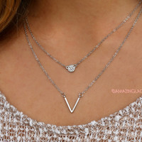 Whispering Winds Two Piece V Pendant Necklace