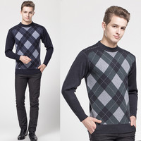 Argyle Pattern Round Neck Ribbed Trim Knit Pullover Sweater