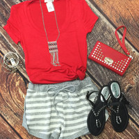 Striped Terry Shorts: Heather
