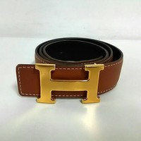 Auth HERMES LightBrown Gold Leather & Metallic Material Square F Belt