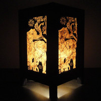 Asian Oriental Thai Elephant  Bedside Table Lamp Wood Paper Light Shades Gift Furniture Home Decor